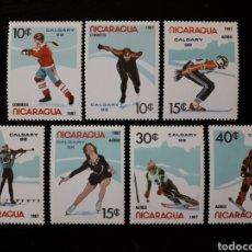 Sellos: NICARAGUA. YVERT 1485A/B + A-1201A/E SERIE CTA NUEVA SIN CHARNELA. DEPORTES. OLIMPIADA CALGARY 88. Lote 180910985
