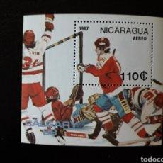 Sellos: NICARAGUA. YVERT HB-181A SERIE CTA NUEVA SIN CHARNELA. DEPORTES. OLIMPIADA CALGARY 88. HOCKEY HIELO. Lote 180911120