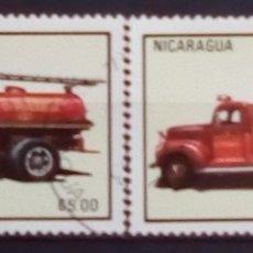 Sellos: NICARAGUA VEHÍCULOS DE BOMBEROS SERIE DE SELLOS USADOS. Lote 182587992