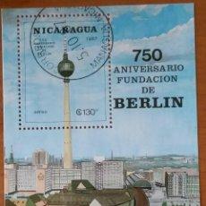 Sellos: HOJITA NICARAGUA,SIN FIJASE,SIN GOMA ORIGINAL,TAMAÑO 9,5X7,750 ANIVERSARIO FUNDACION DE BERLIN. Lote 186462610