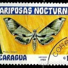 Sellos: NICARAGUA SCOTT: 1234-(1983) (MARIPOSAS NOCTURNAS: MOTH (PHOLUS LICAON) USADO. Lote 191396897