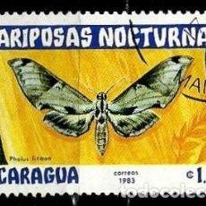 Sellos: NICARAGUA SCOTT: 1234-(1983) (MARIPOSAS NOCTURNAS: MOTH (PHOLUS LICAON) USADO. Lote 191396991