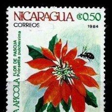 Sellos: NICARAGUA SCOTT: 1337-(1984) (FLOR DE PASCUA: POINSETTIA PULCHERRIMA) USADO. Lote 191399495