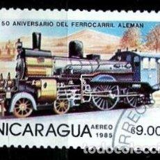 Sellos: NICARAGUA SCOTT: 1414-(1985) (LOCOMOTORA VAPOR DEL FFCC ALEMAN) USADO. Lote 191400196