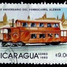 Sellos: NICARAGUA SCOTT: 1415-(1985) (TRANVIA A VAPOR DEL FFCC ALEMAN) USADO. Lote 191400597