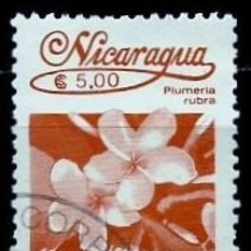 Sellos: NICARAGUA SCOTT: 1523-(1986) (FLORA NICARAGÜENSE: PLUMERIA RUBRA) USADO. Lote 191401435