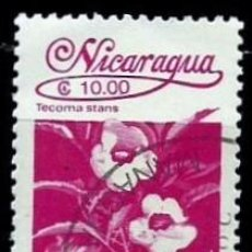 Sellos: NICARAGUA SCOTT: 1606-(1987) (FLORA NICARAGÜENSE: TECOMA STANS) USADO. Lote 191403475