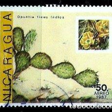 Sellos: NICARAGUA SCOTT: 1645-(1987) (CACTUS: OPUNTIA FICUS INDICA) USADO. Lote 191404545