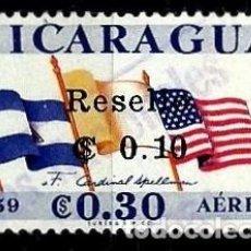 Sellos: NICARAGUA SCOTT: C538-(1964) (CORRE AEREO)(RESELLO: 0,10C EN 0,30C) (VISITA CARDENAL SPELLMAN) USADO. Lote 191408646