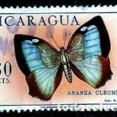 Sellos: NICARAGUA SCOTT: C615-(1967) (CORRE AEREO) (MARIPOSA: CLEOMESTRA LEAFWING) USADO. Lote 191409251