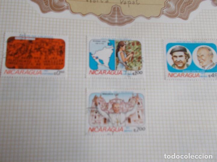 NICARAGUA 4 SELLOS VISITA PAPAL (Sellos - Extranjero - América - Nicaragua)