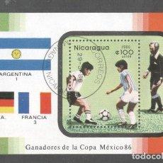 Sellos: NICARAGUA 1986 WORLD CUP FOOTBALL PERF. SHEET MI.B171 USED TA.090. Lote 198274768