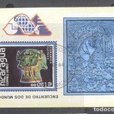 Sellos: NICARAGUA 1988 PRECOLUMBIAN ART PERF. SHEET MI.B181 USED TA.095. Lote 198274803