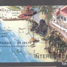 Sellos: NICARAGUA 1989 TOURISM PERF. SHEET MI.B182 USED TA.096. Lote 198274808