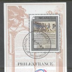 Sellos: NICARAGUA 1989 PHILEXFRANCE PERF. SHEET MI.B187 USED TA.099. Lote 198274857