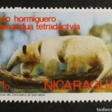 Sellos: NICARAGUA, PARQUE ZOOLÓGICO DE SAN DIEGO, OSO HORMIGUERO 1974 (FOTOGRAFÍA REAL). Lote 208288278