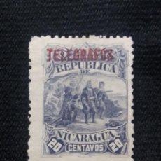Sellos: NICARAGUA, 20 CTS, TELEGRAFOS, AÑO 1892, SOBREESCRITO. SIN USAR. Lote 212930796