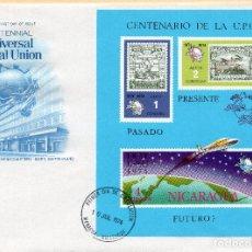 Sellos: SOBRE 1R.DIA CENTENARIO UPU, 1974, NICARAGUA, MICHEL BL81I,. Lote 213701402