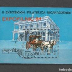 """Sellos: NICARAGUA AÑO 1984 HOJA BLOQUE USADA. TEMÁTICA EXPOSICIONES FILATÉLICAS """"EXPOFILNIC`84. Lote 214662346"""