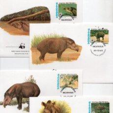 Sellos: NICARAGUA SERIE SOBRES PRIMER DIA 1985 MICHEL 2627 A 2630 WWF. Lote 215511001