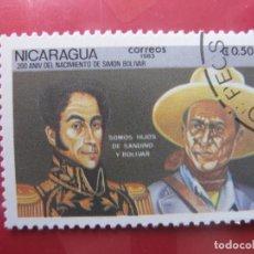 Sellos: +NICARAGUA, 1983, BICENTENARIO DE SIMON BOLIVAR, YVERT 1280. Lote 222543440
