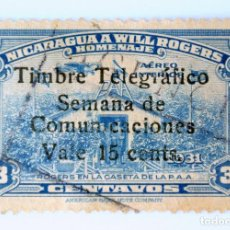 Sellos: SELLO POSTAL NICARAGUA 1956 , 15 C, HOMENAJE A WILL ROGERS, OVERP. SELLO DIFÍCIL DE ENCONTRAR, USADO. Lote 231435210