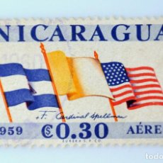 Sellos: SELLO POSTAL NICARAGUA 1959 , 0,30 C, BANDERAS, USADO. Lote 231437360