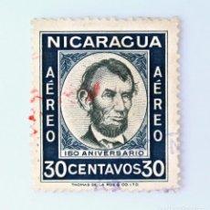 Sellos: SELLO POSTAL NICARAGUA 1960 , 30 C, 150 ANIVERSARIO DEL NACIMIENTO DE ABRAHAM LINCOLN, USADO. Lote 231451210