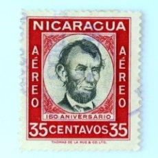 Sellos: SELLO POSTAL NICARAGUA 1960 , 35 C, 150 ANIVERSARIO DEL NACIMIENTO DE ABRAHAM LINCOLN, USADO. Lote 231451830