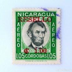 Sellos: SELLO POSTAL NICARAGUA 1962 , 1 C$, 150 ANIVERSARIO DEL NACIMIENTO DE ABRAHAM LINCOLN, USADO. Lote 231480825