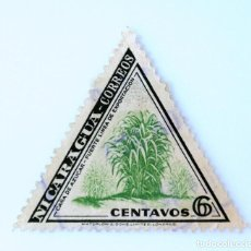 Sellos: SELLO POSTAL NICARAGUA 1947 , 6 C, CAÑA DE AZUCAR - FUERTE LINEA DE EXPORTACION, USADO. Lote 231481695