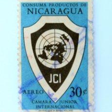 Sellos: SELLO POSTAL NICARAGUA 1961 , 30 C, CAMARA JUNIOR INTERNACIONAL DE COMERCIO, USADO. Lote 231484570