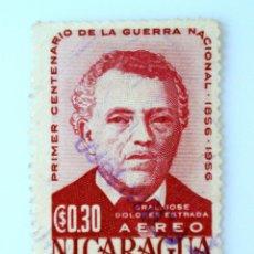 Sellos: SELLO POSTAL NICARAGUA 1956 , 0,30 C$, GENERAL JOSÉ DOLORES ESTRADA, USADO. Lote 231488925