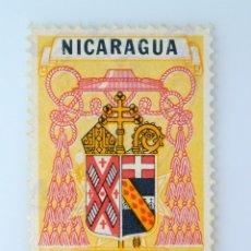 Sellos: SELLO POSTAL NICARAGUA 1959 ,0,10 C$,ESCUDO DE ARMAS SEQUERE DEUM -FALLO DOBLE TRANSFERENCIA , USADO. Lote 231500350