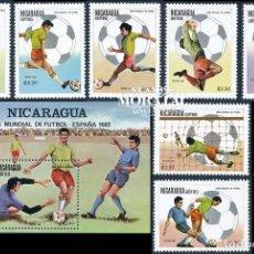 Sellos: [50] 1982 NICARAGUA YV 1175/1179, A-973/974, HB-150 FUTBOL. ESPAÑA'82 SPAIN'82 ** MNH PERFECTO ES. Lote 237249815