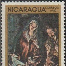 """Francobolli: NICARAGUA 1983 SCOTT 1317 SELLO * CHRISTMAS NAVIDAD ARTE PINTURA """"ADORACION DE PASTORES"""" (EL GRECO). Lote 237888120"""