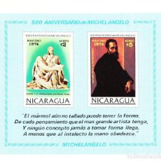Sellos: 1974 NR. YVERT: B119 NICARAGUA 500 ANIVERSARIO MICHEL ANGELO **. Lote 240547585