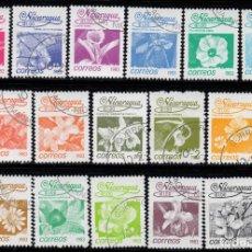 Sellos: NICARAGUA 1248/63 - AÑO 1987 - FLORA - FLORES. Lote 242147210