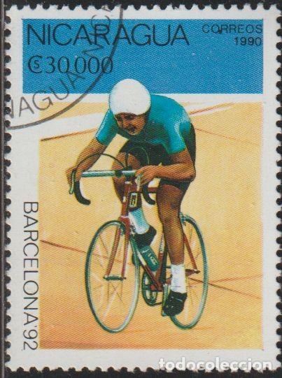 NICARAGUA 1990 SCOTT 1810 SELLO * DEPORTES JUEGOS OLIMPICOS BARCELONA ESPAÑA CICLISMO MICHEL 2998 (Sellos - Extranjero - América - Nicaragua)