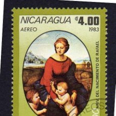 Sellos: AMÉRICA. NICARAGUA,MADONA DE LA PRADERA. RAFAEL..YTPA1037. USADO SIN CHARNELA. Lote 253907720