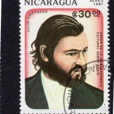 Sellos: AMÉRICA. NICARAGUA,. ORDE DE LA INDEPENDENCIA CULTURA RUBÉN DARÍO. JULIO CORTEZAR. YTPA1189. USADO S. Lote 253911060