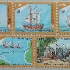 Sellos: 1982. NICARAGUA. 1214 / 1217 + A101 / A103. 490 ANIV. DESCUBRIMIENTO AMÉRICA. SERIE COMPLETA. NUEVO.. Lote 266751263