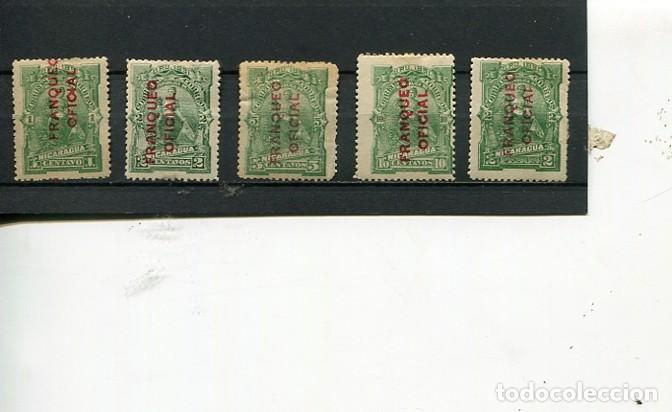 SELLOS ANTIGUOS CLASICOS DE NICARAGUA SOBRECARGA FRANQUEO OFICIAL AÑO 1891 VERTICAL (Sellos - Extranjero - América - Nicaragua)