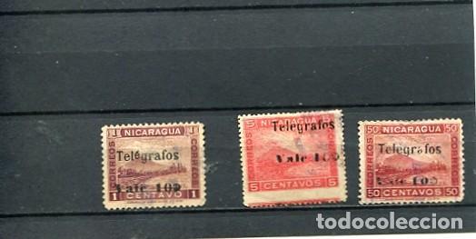 SELLOS ANTIGUOS CLASICOS DE NICARAGUA SOBRECARGA SOBRETASA TELEGRAFOS AÑO 1907 SELOS DE 1900 VOLCAN (Sellos - Extranjero - América - Nicaragua)