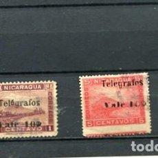 Sellos: SELLOS ANTIGUOS CLASICOS DE NICARAGUA SOBRECARGA SOBRETASA TELEGRAFOS AÑO 1907 SELOS DE 1900 VOLCAN. Lote 289559828