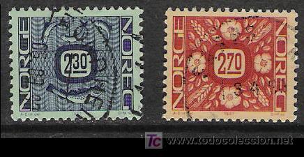 NORUEGA 1987. BÁSICOS, ORNAMENTOS, SALMÓN Y FLORES (Sellos - Extranjero - Europa - Noruega)