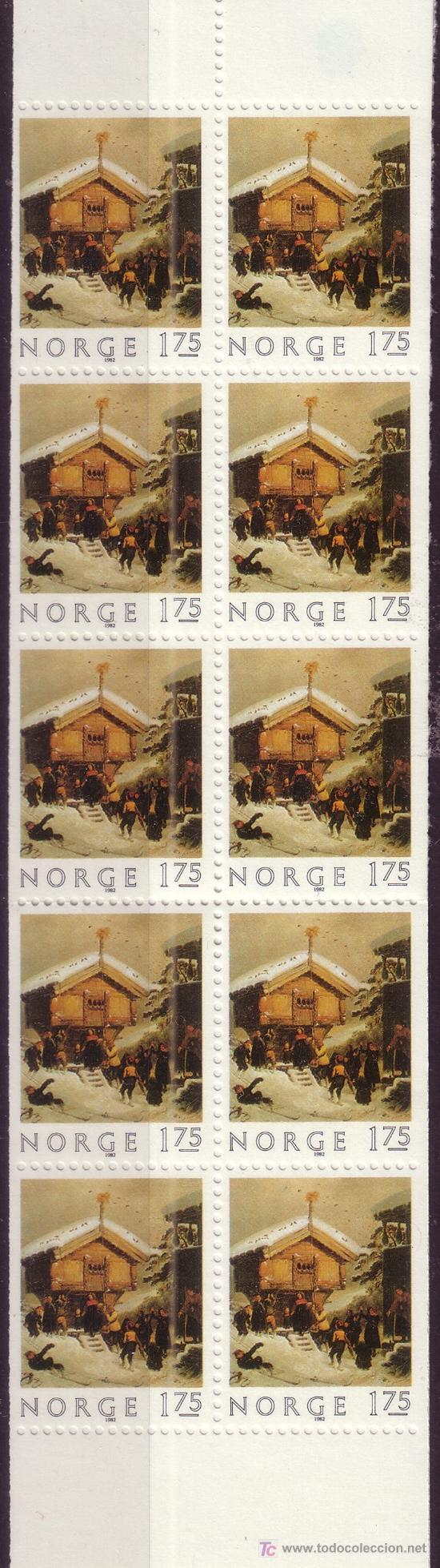 Sellos: NORUEGA CARNET 831*** - AÑO 1982 - NAVIDAD - PINTURA - OBRA DE ADOLF TIDEMAND - Foto 2 - 25271799