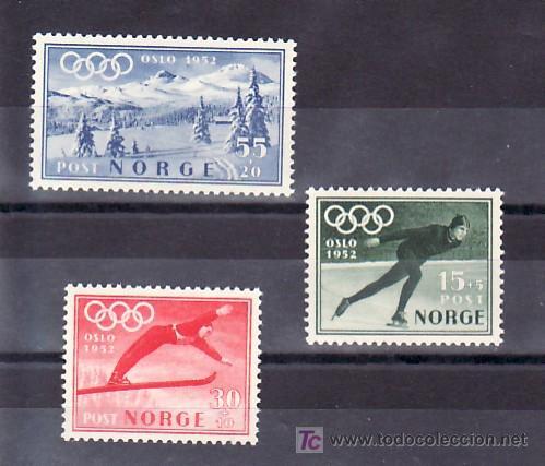 NORUEGA 337/9 CON CHARNELA, DEPORTE, SELLO PROPAGANDA PARA LOS JUEGOS OLIMPICOS, DE INVIERNO, (Sellos - Extranjero - Europa - Noruega)