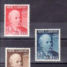 Sellos: NORUEGA 332/4 SIN CHARNELA, LITERATURA, CENTENARIO NACIMIENTO DEL POETA ARNE GARBORG, . Lote 11826809