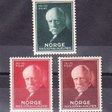 Sellos: NORUEGA 199/201 SIN CHARNELA, SOCORRO NACIONAL, EFIGIE DE FRIDTJOF NANSEN,. Lote 10758528